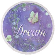 Round Beach Towel featuring the painting Dream With Periwinkle Butterfly Scrolls by Nancy Lee Moran