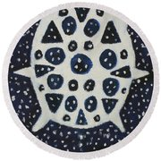 Round Beach Towel featuring the painting Dreamflake by Artists With Autism Inc