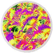 Dreaming Ferns Round Beach Towel by Ludwig Keck