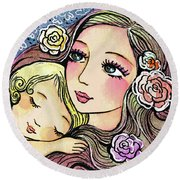 Dreaming In Roses Round Beach Towel