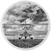 Dreaming Of Flight, In Black And White Round Beach Towel