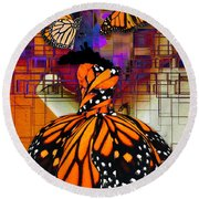 Round Beach Towel featuring the mixed media Dreaming Of Flying High by Marvin Blaine