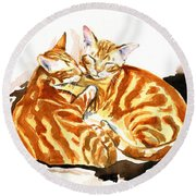 Dreaming Of Ginger - Orange Tabby Cat Painting Round Beach Towel