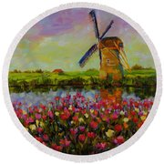 Dreaming Of Holland Round Beach Towel by Chris Brandley