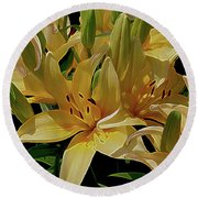 Dreaming Of Lilies Round Beach Towel