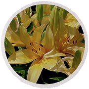 Dreaming Of Lilies Round Beach Towel by Lynda Lehmann