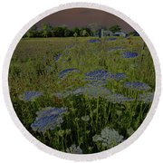 Round Beach Towel featuring the photograph Dreaming Of Queen Annes Lace by Suzanne Gaff