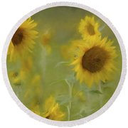 Round Beach Towel featuring the photograph Dreaming Of Sunflowers by Benanne Stiens