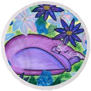 Dreaming Sleeping Purple Cat Round Beach Towel