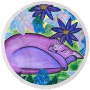 Dreaming Sleeping Purple Cat Round Beach Towel