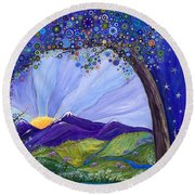 Dreaming Tree Round Beach Towel by Tanielle Childers