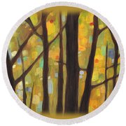 Dreaming Trees 1 Round Beach Towel by Hailey E Herrera