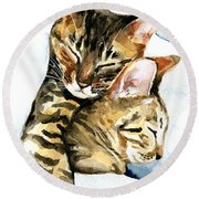 Dreamland - Bengal And Savannah Cat Painting Round Beach Towel