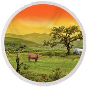 Round Beach Towel featuring the photograph Dreamland by Charuhas Images
