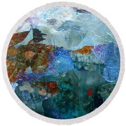 Round Beach Towel featuring the painting Dreamland by Mary Sullivan