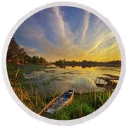 Dreams Of Dusk Round Beach Towel