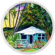 Round Beach Towel featuring the painting Dreams Of Kauai 2 by Marionette Taboniar