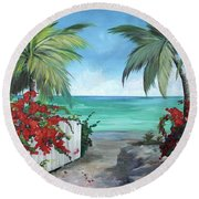 Dreams Of St. John Round Beach Towel by Kristen Abrahamson
