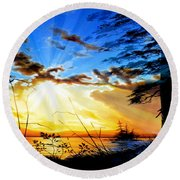 Round Beach Towel featuring the painting Dreams Of Sunrise Through The Pines by Hanne Lore Koehler