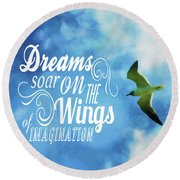 Round Beach Towel featuring the photograph Dreams On Wings by Jan Amiss Photography