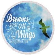 Dreams On Wings Round Beach Towel