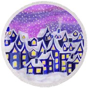 Dreamstown Blue, Painting Round Beach Towel