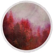 Round Beach Towel featuring the digital art Dreamy Autumn Forest by Klara Acel