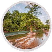 Dreamy Bald Cypress At Guadalupe River - Canyon Lake Texas Hill Country Round Beach Towel