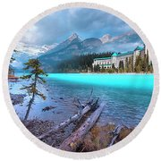 Dreamy Chateau Lake Louise Round Beach Towel
