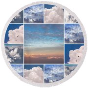 Round Beach Towel featuring the photograph Dreamy Clouds Collage by Jenny Rainbow