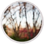 Round Beach Towel featuring the photograph Dreamy Fall Colors by Susan Stone