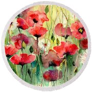 Dreamy Hot Summer Fields Round Beach Towel