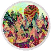 Round Beach Towel featuring the digital art Dreamy Mountains by Zaira Dzhaubaeva