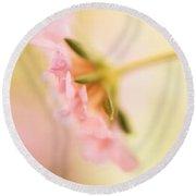 Dreamy Pink Flower Round Beach Towel by Bonnie Bruno