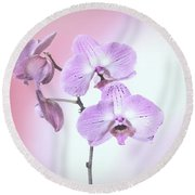 Dreamy Pink Orchid Round Beach Towel