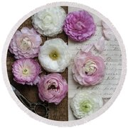 Round Beach Towel featuring the photograph Dreamy Ranunculus  by Kim Hojnacki
