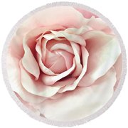 Blush Pink Rose - Romantic Pastel Pink Shabby Chic Rose Closeup - Watercolor Roses  Round Beach Towel