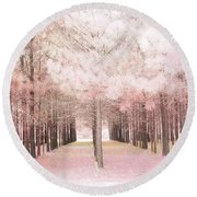 Round Beach Towel featuring the photograph Dreamy Shabby Chic Pink Nature Pink Trees Woodlands - Pink Nature Nursery Prints Decor by Kathy Fornal