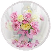 Round Beach Towel featuring the photograph Dreamy Shabby Chic Pink Yellow Roses On White Chair - Vintage Pastel Cottage Pink Roses Home Decor by Kathy Fornal