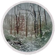 Dreamy Snow Round Beach Towel by Sandy Moulder