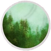Round Beach Towel featuring the digital art Dreamy Spring Forest by Klara Acel