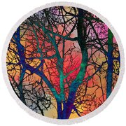 Round Beach Towel featuring the digital art Dreamy Sunset by Klara Acel