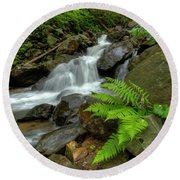 Round Beach Towel featuring the photograph Dreamy Waterfall Cascades by Debra and Dave Vanderlaan