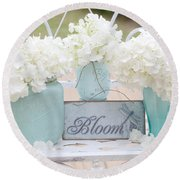 White Hydrangeas Cottage Decor- Shabby Chic White Hydrangeas In Aqua Blue Teal Mason Ball Jars Round Beach Towel
