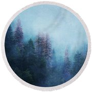 Round Beach Towel featuring the digital art Dreamy Winter Forest by Klara Acel