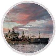 Dredging Ship Round Beach Towel by Greg Nyquist