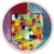 Dreidel Of Many Colors- Art By Linda Woods Round Beach Towel