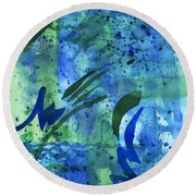 Drenched Watercolor Round Beach Towel