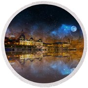 Dresden At Night Round Beach Towel