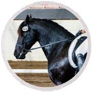 Dressage Horse Show Round Beach Towel